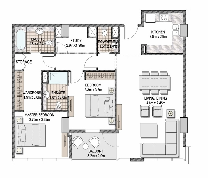 Planning of the apartment 2BR, 1221.38 in The Pulse Apartments and Townhouses, Dubai