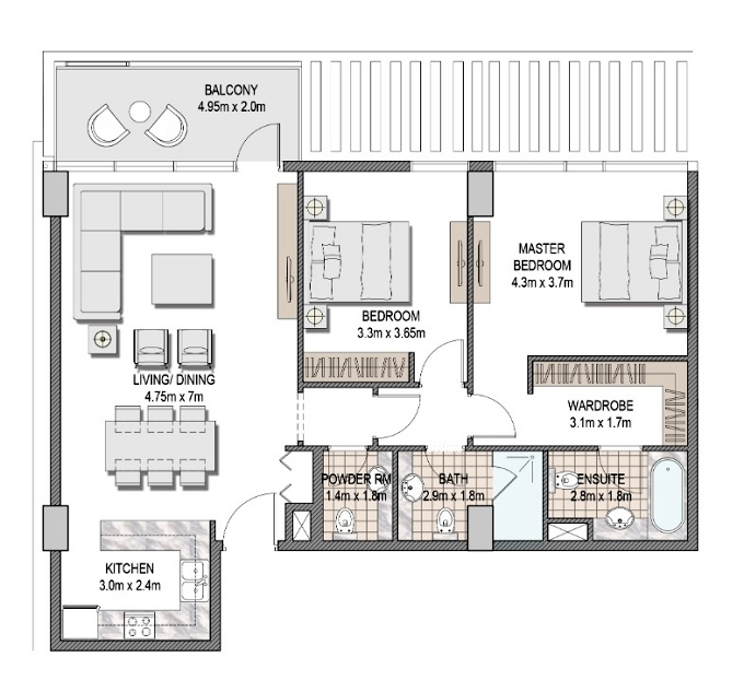 Planning of the apartment 2BR, 1100.53 in The Pulse Apartments and Townhouses, Dubai