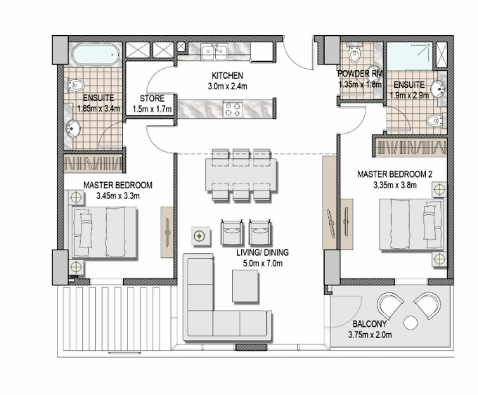 Planning of the apartment 2BR, 1092.58 in The Pulse Apartments and Townhouses, Dubai