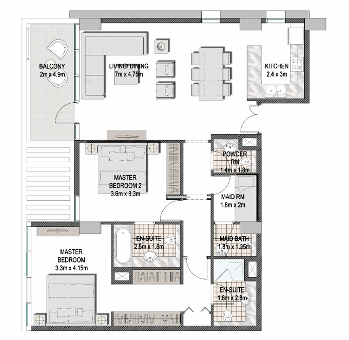Planning of the apartment 2BR, 1214.8 in The Pulse Apartments and Townhouses, Dubai