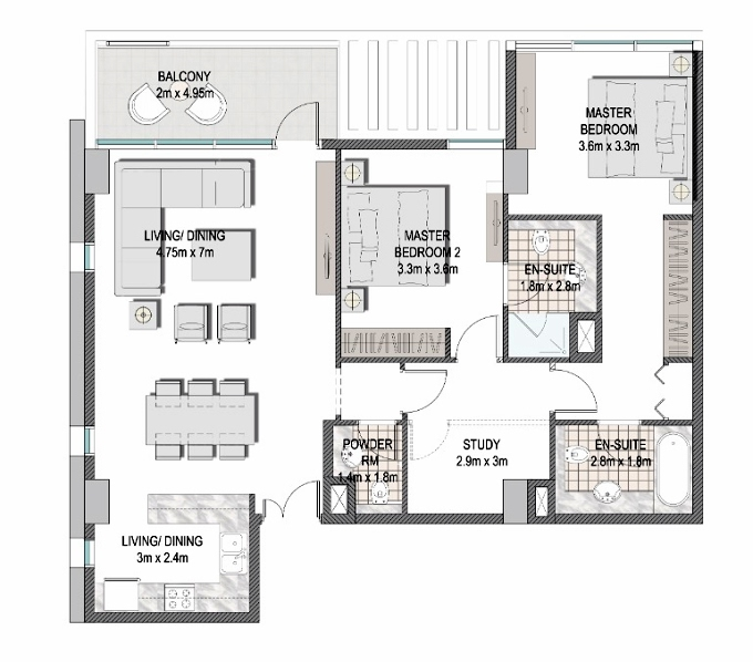 Planning of the apartment 2BR, 1157.6 in The Pulse Apartments and Townhouses, Dubai