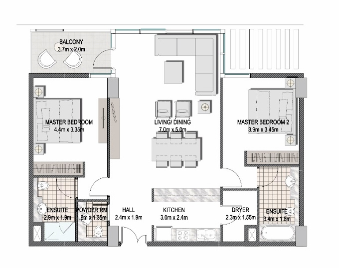 Planning of the apartment 2BR, 1104.5 in The Pulse Apartments and Townhouses, Dubai