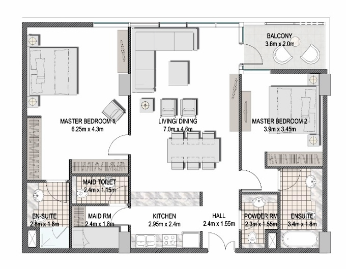 Planning of the apartment 2BR, 1237.9 in The Pulse Apartments and Townhouses, Dubai