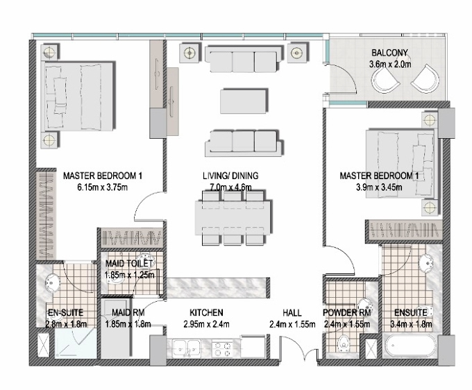 Planning of the apartment 2BR, 1176.9 in The Pulse Apartments and Townhouses, Dubai