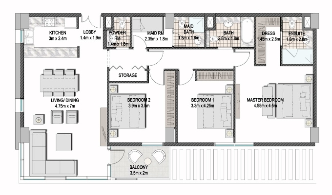 Planning of the apartment 3BR, 1507.5 in The Pulse Apartments and Townhouses, Dubai