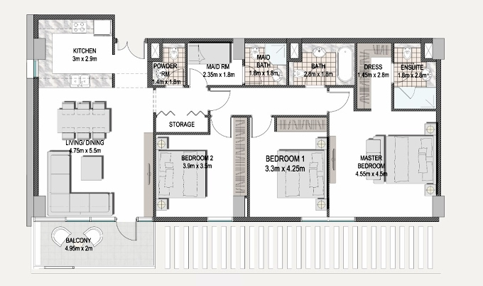 Planning of the apartment 3BR, 1431.6 in The Pulse Apartments and Townhouses, Dubai