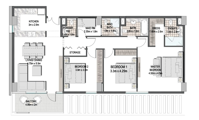 Planning of the apartment 3BR, 1428.6 in The Pulse Apartments and Townhouses, Dubai