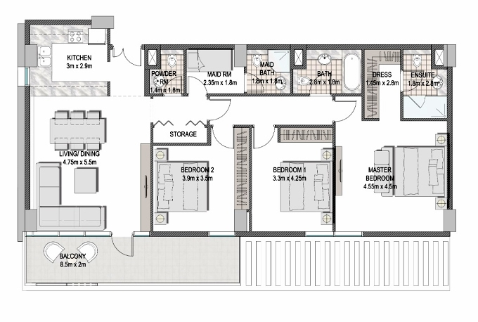 Planning of the apartment 3BR, 1432.7 in The Pulse Apartments and Townhouses, Dubai