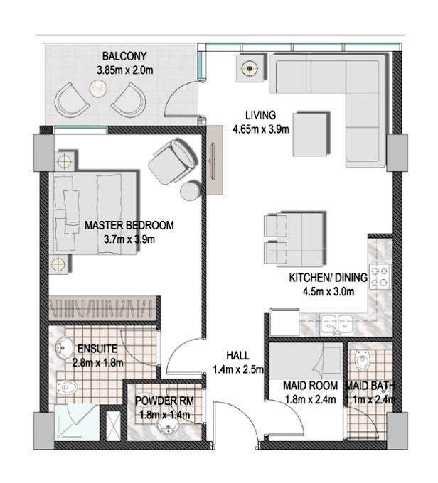 Planning of the apartment 1BR, 795.02 in The Pulse Apartments and Townhouses, Dubai