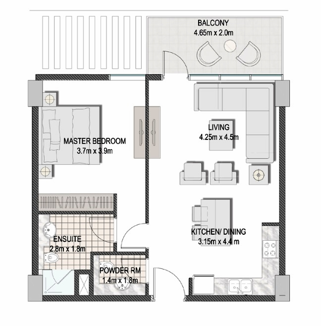 Planning of the apartment 1BR, 693.84 in The Pulse Apartments and Townhouses, Dubai