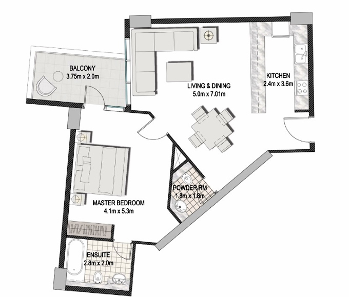 Planning of the apartment 1BR, 810.63 in The Pulse Apartments and Townhouses, Dubai