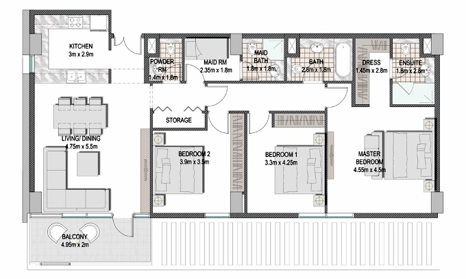 Planning of the apartment 3BR, 1427.51 in The Pulse Apartments and Townhouses, Dubai