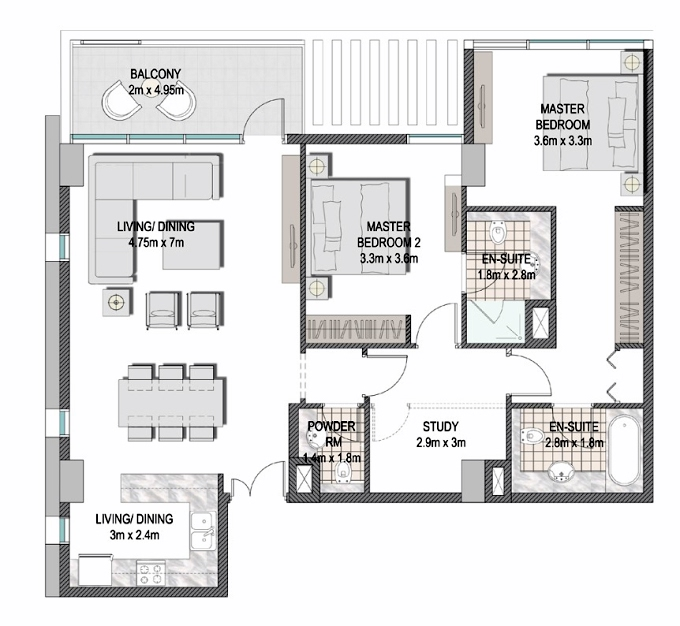 Planning of the apartment 2BR, 1155.29 in The Pulse Apartments and Townhouses, Dubai