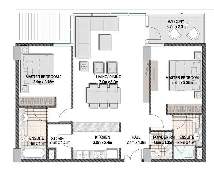 Planning of the apartment 2BR, 1102.65 in The Pulse Apartments and Townhouses, Dubai