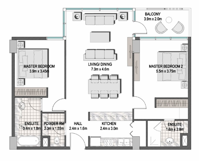 Planning of the apartment 2BR, 1091.35 in The Pulse Apartments and Townhouses, Dubai
