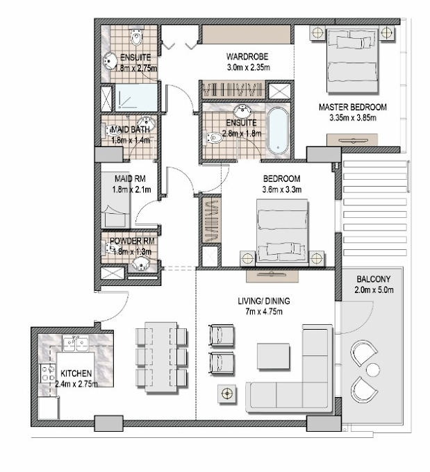 Planning of the apartment 2BR, 1174.35 in The Pulse Apartments and Townhouses, Dubai