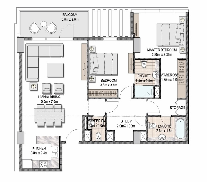 Planning of the apartment 2BR, 1135.29 in The Pulse Apartments and Townhouses, Dubai