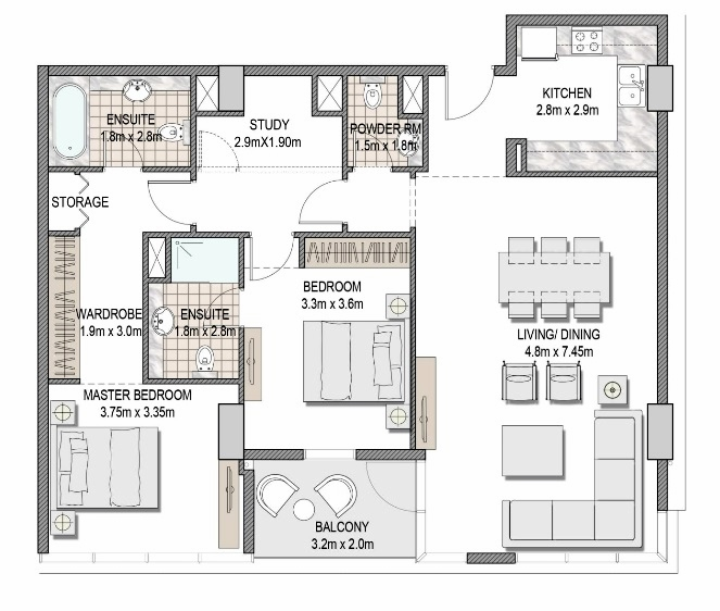 Planning of the apartment 2BR, 1223.3 in The Pulse Apartments and Townhouses, Dubai