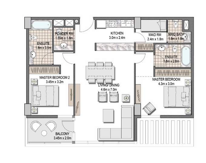 Planning of the apartment 2BR, 1131.52 in The Pulse Apartments and Townhouses, Dubai