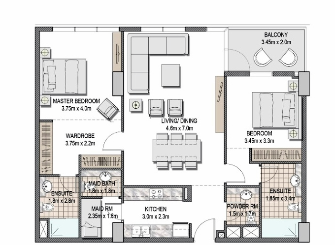Planning of the apartment 2BR, 1183.5 in The Pulse Apartments and Townhouses, Dubai