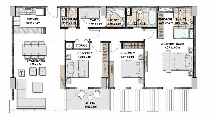 Planning of the apartment 3BR, 1480.15 in The Pulse Apartments and Townhouses, Dubai