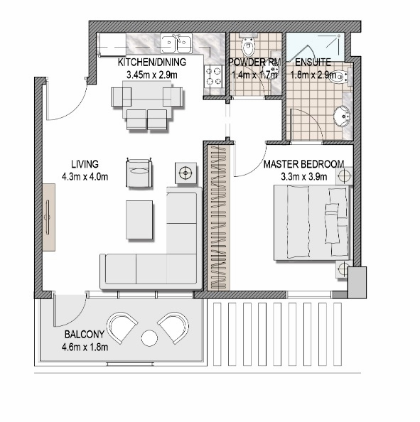 Planning of the apartment 1BR, 631.29 in The Pulse Apartments and Townhouses, Dubai
