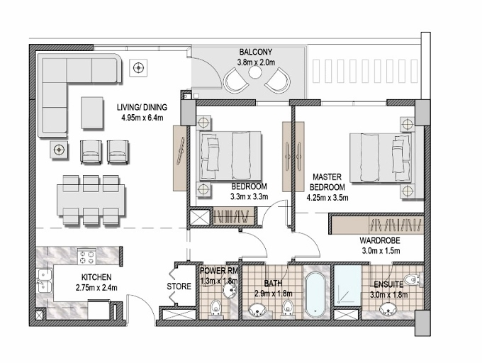 Planning of the apartment 2BR, 1081.7 in The Pulse Apartments and Townhouses, Dubai