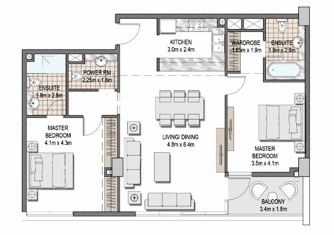 Planning of the apartment 2BR, 1086.33 in The Pulse Apartments and Townhouses, Dubai