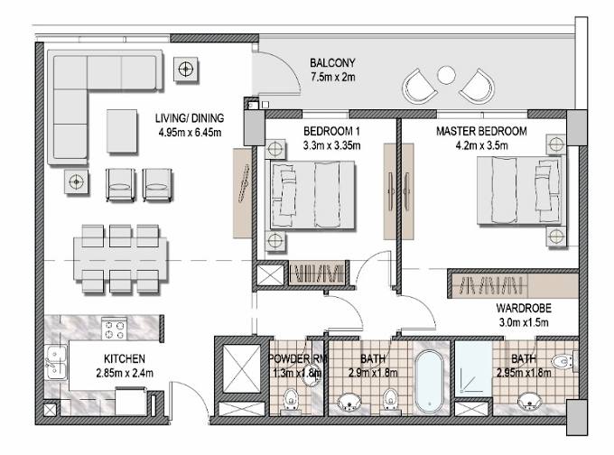 Planning of the apartment 2BR, 1068.15 in The Pulse Apartments and Townhouses, Dubai