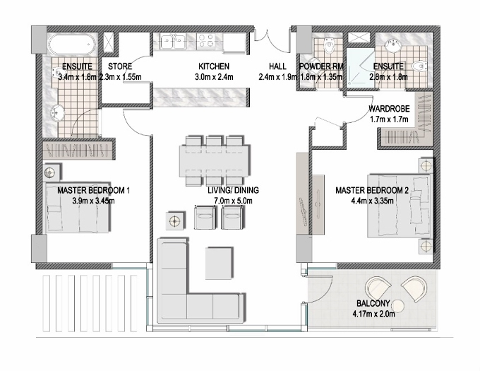 Planning of the apartment 2BR, 1149.3 in The Pulse Apartments and Townhouses, Dubai