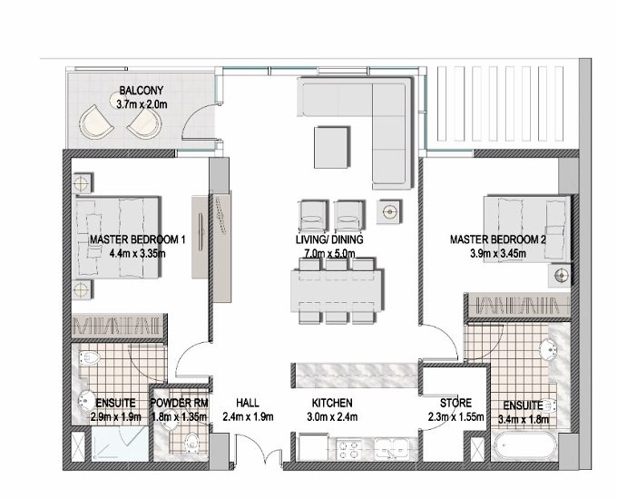 Planning of the apartment 2BR, 1116.5 in The Pulse Apartments and Townhouses, Dubai