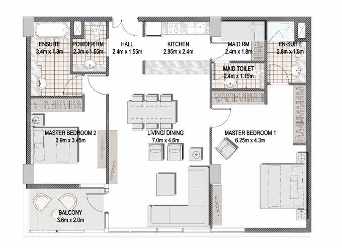 Planning of the apartment 2BR, 1238.9 in The Pulse Apartments and Townhouses, Dubai