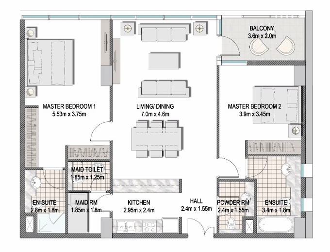 Planning of the apartment 2BR, 1189.2 in The Pulse Apartments and Townhouses, Dubai