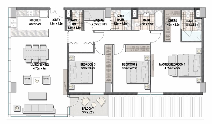 Planning of the apartment 3BR, 1408.8 in The Pulse Apartments and Townhouses, Dubai