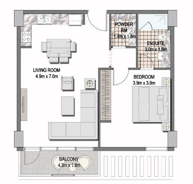 Planning of the apartment 1BR, 691.04 in The Pulse Apartments and Townhouses, Dubai