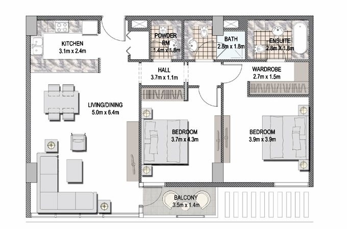 Planning of the apartment 2BR, 1126.77 in The Pulse Apartments and Townhouses, Dubai