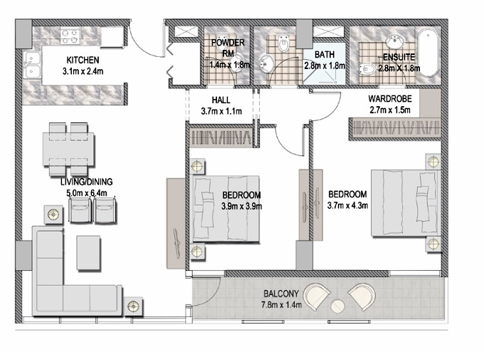 Planning of the apartment 2BR, 1126.01 in The Pulse Apartments and Townhouses, Dubai