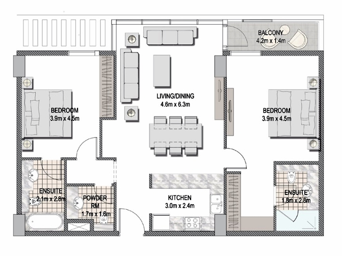 Planning of the apartment 2BR, 1109.76 in The Pulse Apartments and Townhouses, Dubai