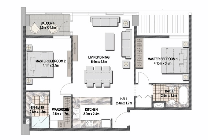 Planning of the apartment 2BR, 1009.87 in The Pulse Apartments and Townhouses, Dubai