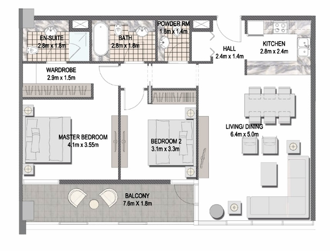 Planning of the apartment 2BR, 1096.84 in The Pulse Apartments and Townhouses, Dubai
