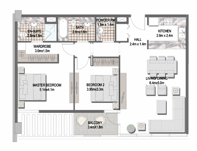 Planning of the apartment 2BR, 1097.27 in The Pulse Apartments and Townhouses, Dubai