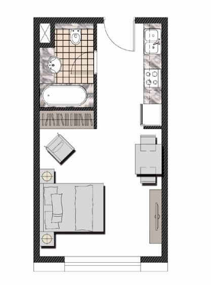 Planning of the apartment Studios, 359.29 in The Pulse Apartments and Townhouses, Dubai