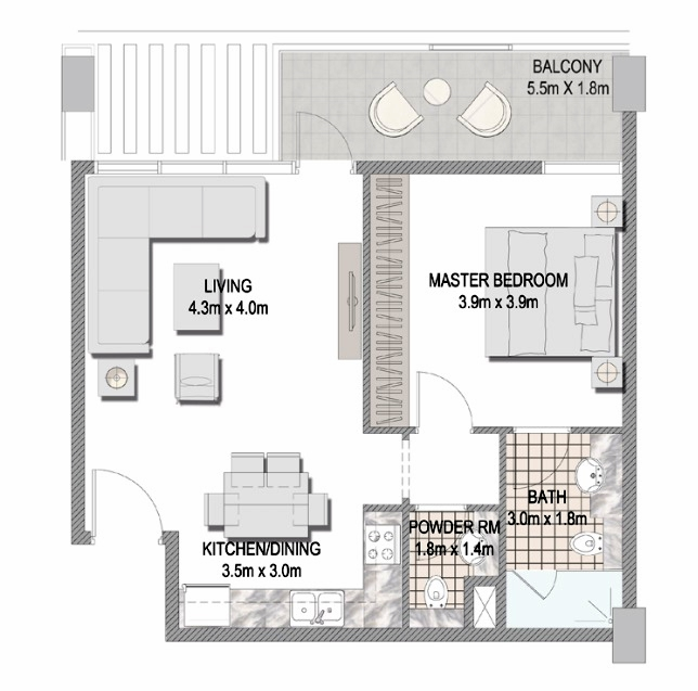 Planning of the apartment 1BR, 634.2 in The Pulse Apartments and Townhouses, Dubai