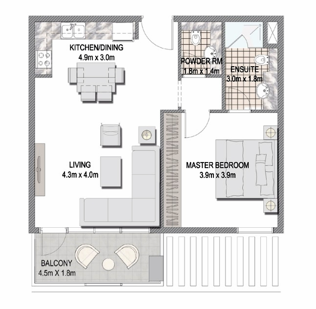 Planning of the apartment 1BR, 657.13 in The Pulse Apartments and Townhouses, Dubai