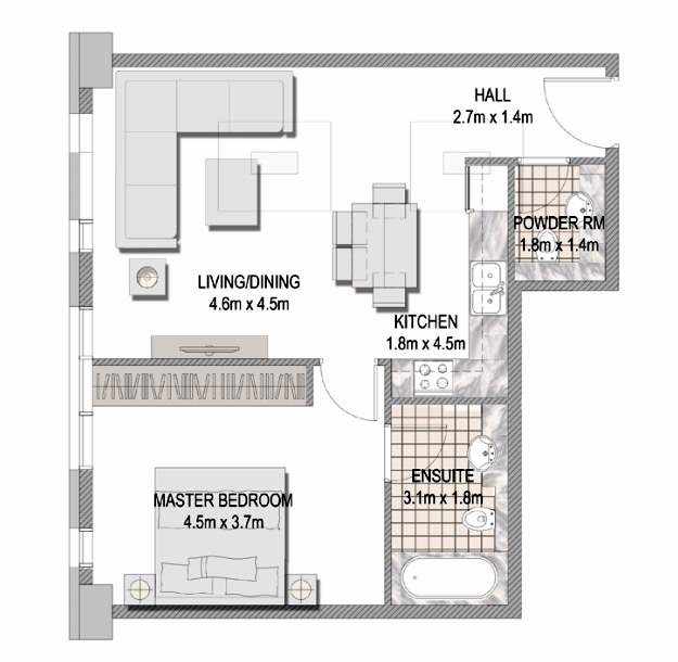 Planning of the apartment 1BR, 663.16 in The Pulse Apartments and Townhouses, Dubai