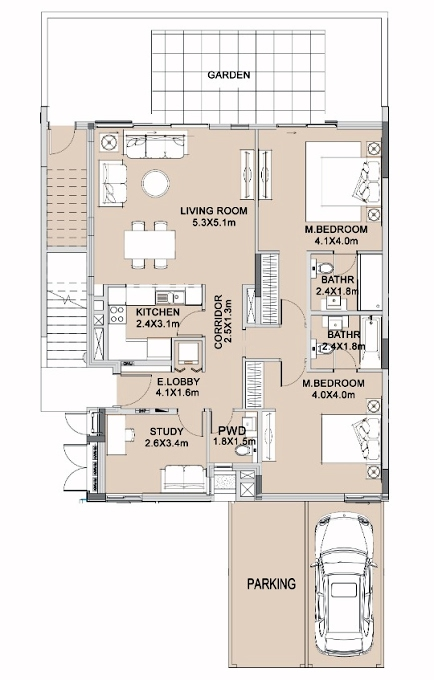 Planning of the apartment Townhouses, 1322.78 in The Pulse Apartments and Townhouses, Dubai