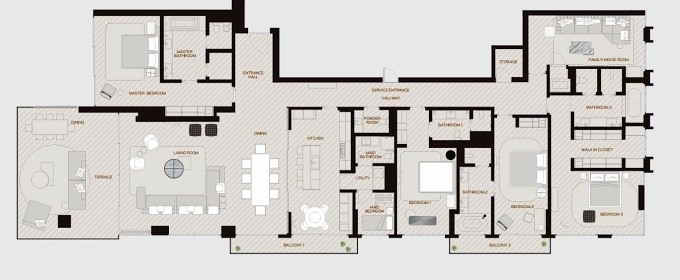 Planning of the apartment 4BR, 4399 in Palme Couture Residences, Dubai