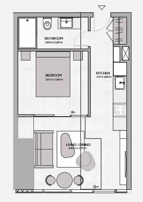 Planning of the apartment 1BR, 420.01 in The Community, Dubai