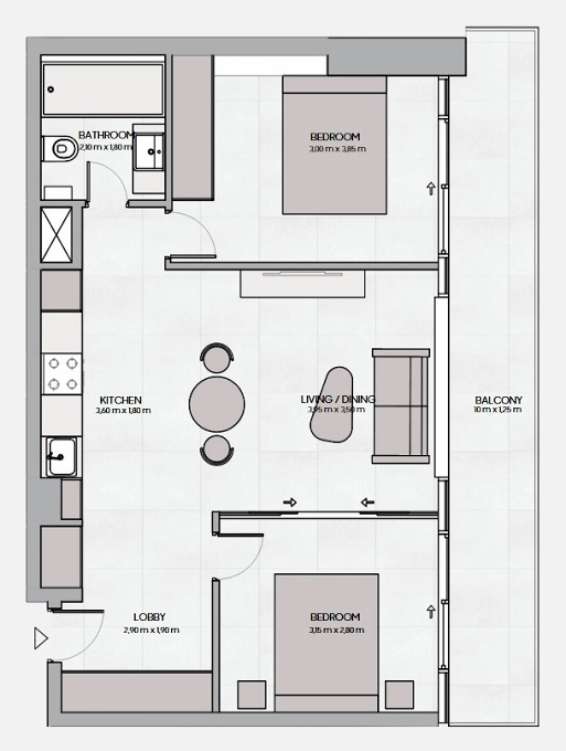 Planning of the apartment 2BR, 747.45 in The Community, Dubai
