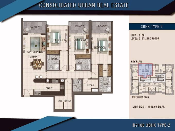 Planning of the apartment 3BR, 1856.99 in Global Golf Residence I, Dubai